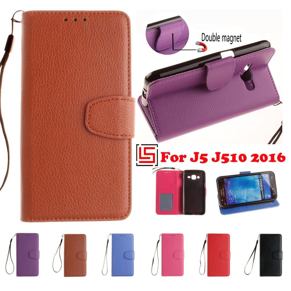 PU Leather Lather Flip Book Wallet Stand Wallt Phone Case Cover For Samsung Sumsang Samsuns Galaxy <font><b>J5</b></font> 2016 J510 J 5 <font><b>510</b></font> Rose image