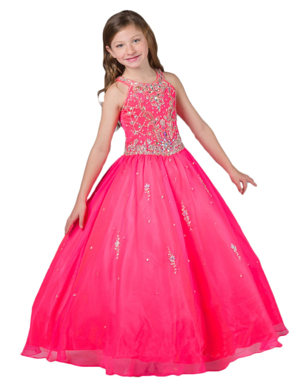 Hot Stock Pink Beads Flower Girl Dress Formal Pageant Prom Ball Gowns Size4-14