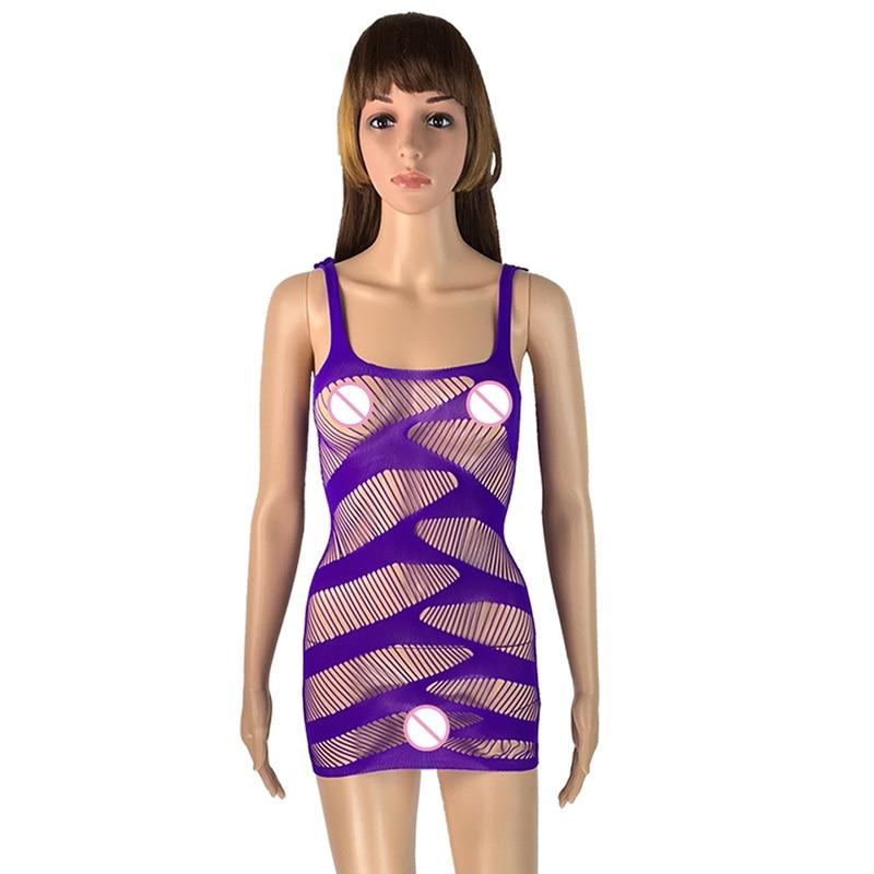 Se igenom klänning Miniklänning Kvinnor Sexiga nallar Body Fishnet Spandex Bodysuit Märke Vit Kroppsdräkt Plus Size Clubwear TB043