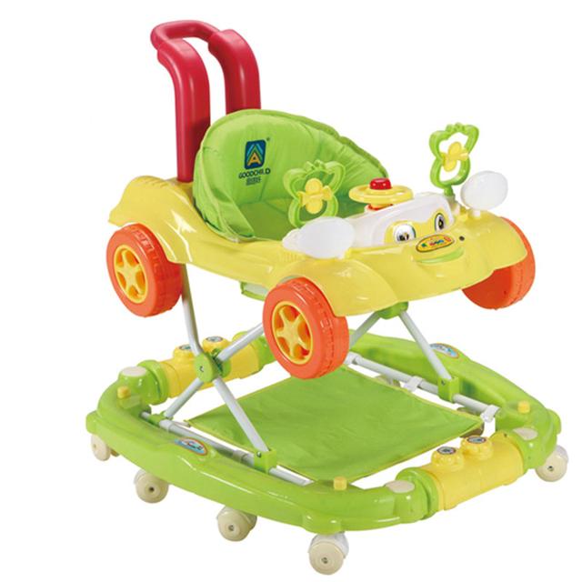 Nuevo Producto Del Bebé Andador Andador Niño Rueda de Peso Ligero Portátil Anti Vuelco Música Plegado Placa Juguetes Caballo Mecedora C01