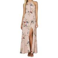 Floral Print Boho Beach Dresses Sleeveless Chiffon Dress Sexy Split Backless Maxi Dresses Women Vestidos Summer