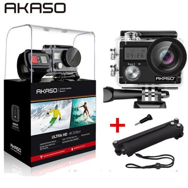 "AKASO Brave 4 Экшн-камера Ultra HD 4 K WiFi 2,0 ""170D 20MP подводный водонепроницаемый шлем камера Спортивная камера селфи палка подарок"
