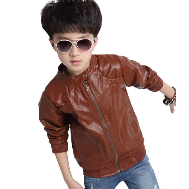 Boys Faux Leather Jacket Boys Casual Black/Brown Solid Children ...