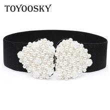 2019 New Arrival Fashion Women Belt Elastic Elegant Pearl Black White Heart-shaped Wide for Luxury Designer Brand