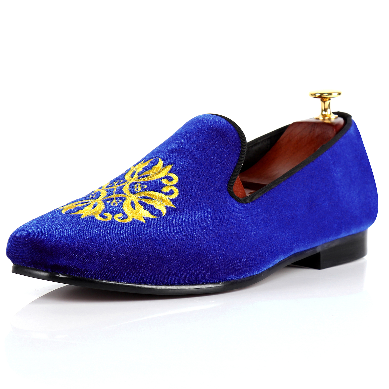 Harpelunde Men Velvet Shoes Blue Casual Shoes Embroidery Flats Size 7-13
