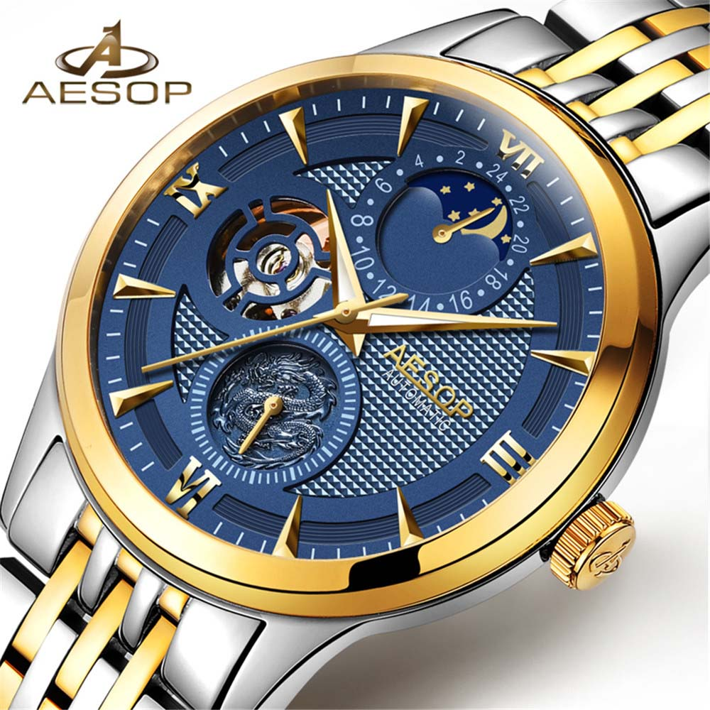 AESOP Mens Watches Top Brand Luxury Automatic Mechanical Watch Men Full Steel Business Waterproof Sport Watch Relogio Masculino tevise men watch luxury gold full steel automatic mechanical waterproof watches with date mens wristwatch relogio masculino