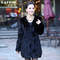 Luxury Winter Women's Genuine Natural Spliced Mink Fur Coat Jacket with Hoody Lady Warm Outerwear Coats Garment Plus Size VF0259