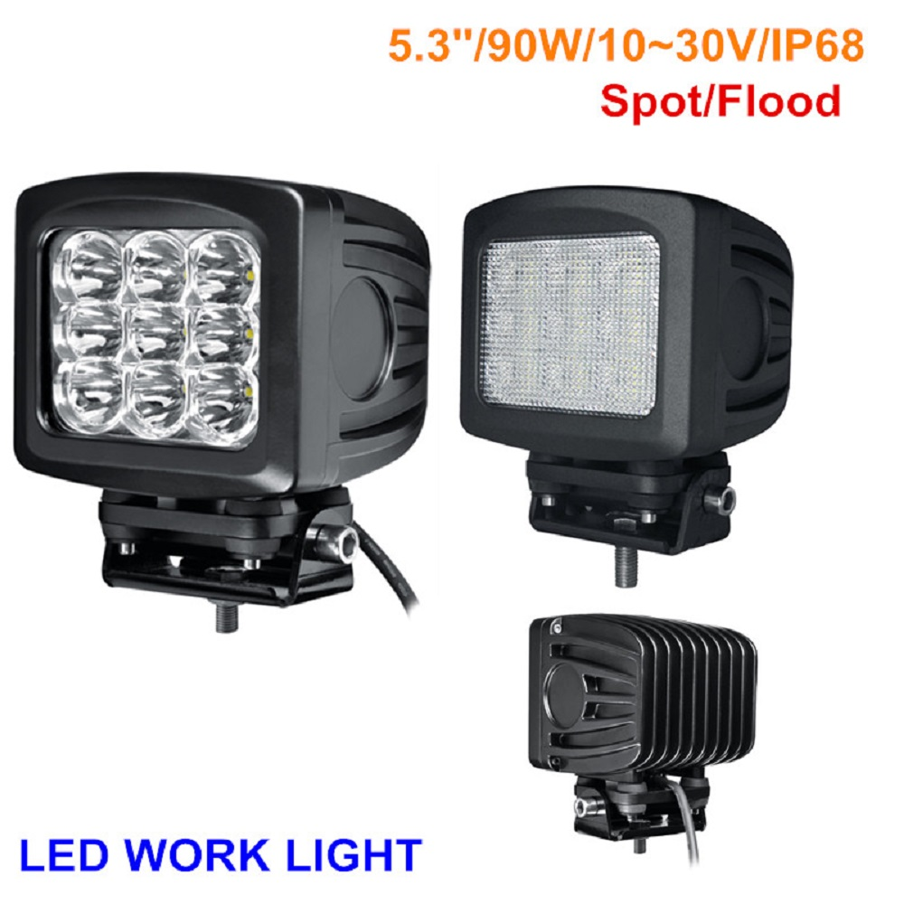 1 piece LED8902 aluminum black 5inch 90w square offroad led driving light for SUV ATV offroad 4x4 auto 10 50 meters pack 1m per piece led aluminum profile slim 1m with milky diffuse or clear cover for led strips