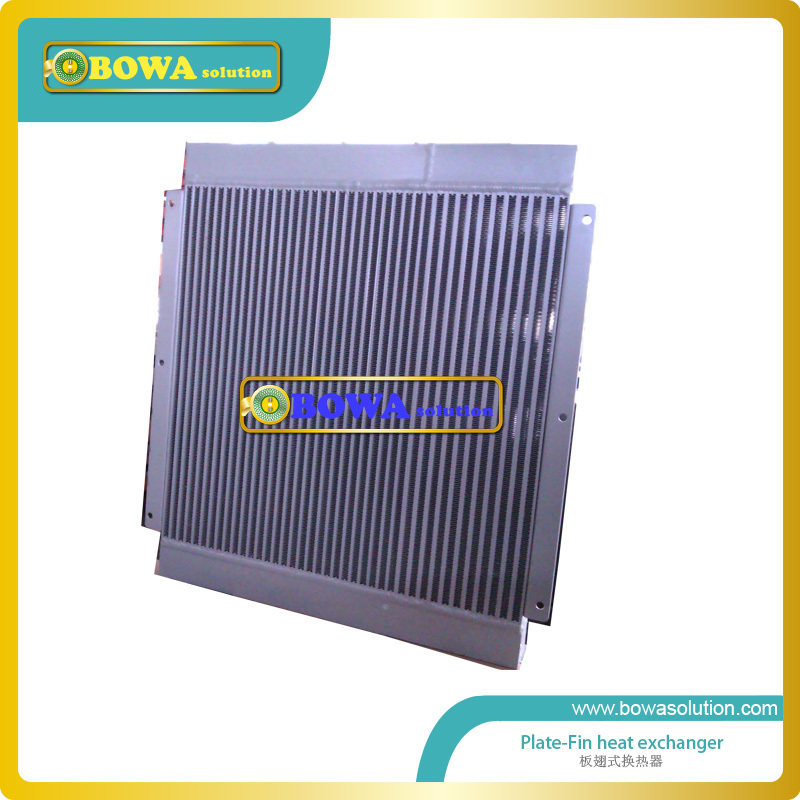 55KW plate-fin heat exchanger working as air cooled oil cooler to cool lubricant oil in crankcase of air compressors 11kw heating capacity r410a to water and 4 5mpa working pressure plate heat exchanger is used in r410a heat pump air conditioner