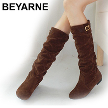 Big size 34-43 HOT 2016 new arrive knee boots flock buckle women casual boots flat winter shoes lady female boot black brown