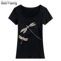 BabYoung 2017 Summer Brands Women T Shirt Handmade Beaded Anima Cotton O Neck Short Sleeve T