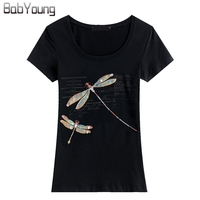 BabYoung 2017 Summer Brands Women T Shirt Handmade Beaded Anima Cotton O Neck Short Sleeve T