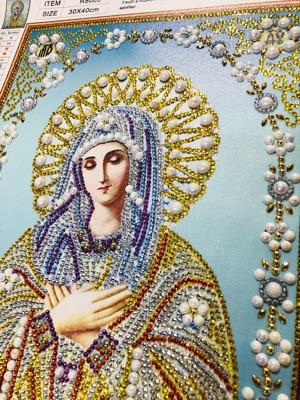 8003 300 5D DIY Diamond Embroidery Beadwork Icons Religion Diamond Painting 3D Crystal glass Drill Diamond Mosaic Religious Pearls pattern rhinestone Bead Orthodox home decor  (3)