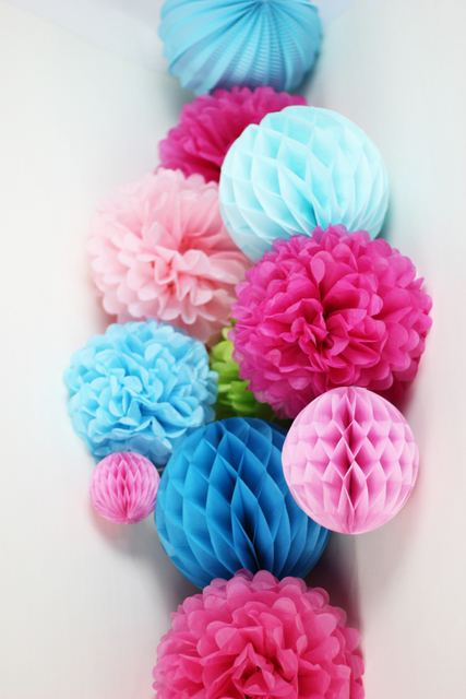 11pcs (Blue,Fuchsia) Wedding Decorations Tissue Paper Pom Poms/Honeycomb  Balls/