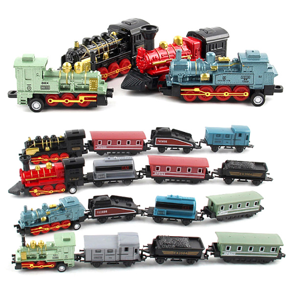 Steam Train Set Railway Vehicles Toys Mini 4/5Pcs Diecasts Metal Alloy Classic Toys Children Learning Education Christmas Gift