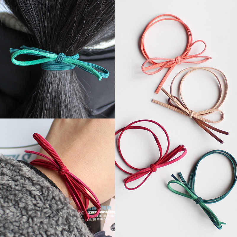Korean double bow hair ring hand tie hair rope high elastic tie head rubber band head rope