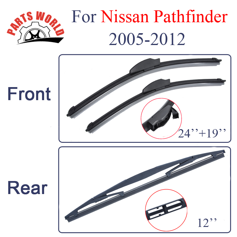Group Silicone Rubber Front And Rear Wiper Blades For font b Nissan b font Pathfinder 2005