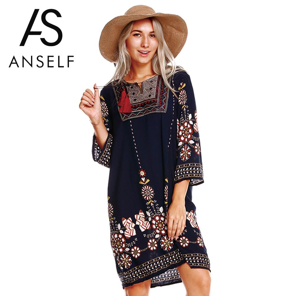 Dresses Motivated Anself Women Boho Tunic Dress Ethnic Embroidered Front Vintage Floral Print Summer Dress Tassels 3/4 Sleeves Beach Loose Dress