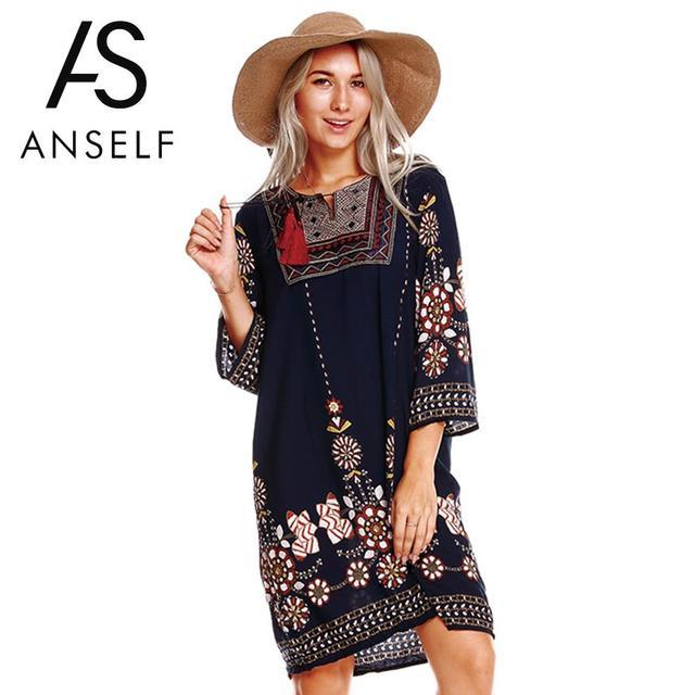 Anself женское боховая туника платье этническое вышитое спереди винтажное летнее платье с цветочным принтом с кисточками 3/4 рукава пляжное свободное платье
