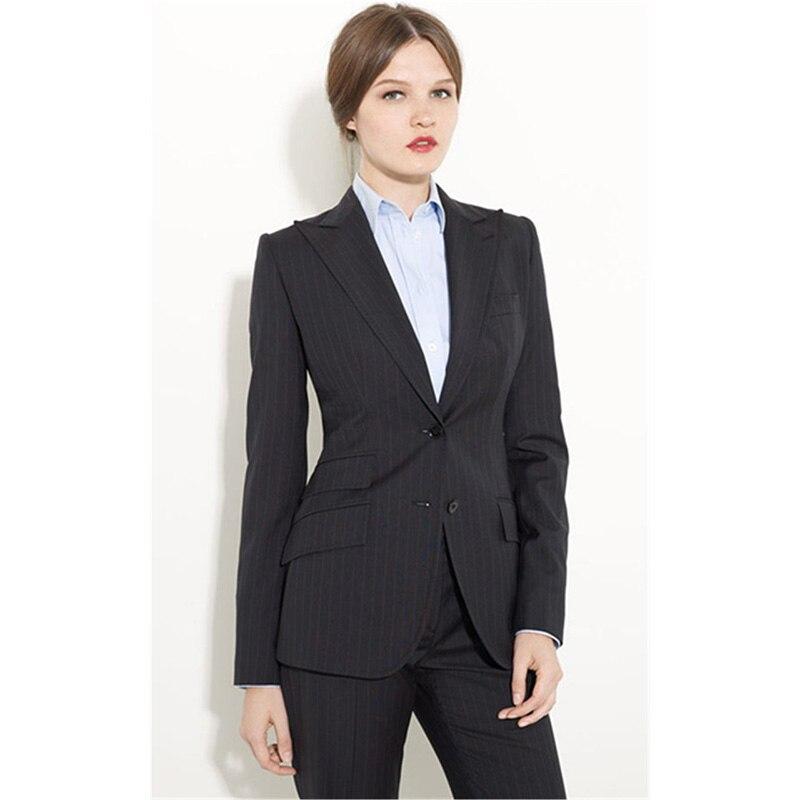 CUSTOM Black Formal Pants Suit Women Office Uniform Designs Women Female Business Suit Fashion Elegant Style One Button Striped