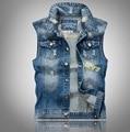VXO Mens Denim jacket Men's Denim Vest  Hole beggar denim vest embro men jacket