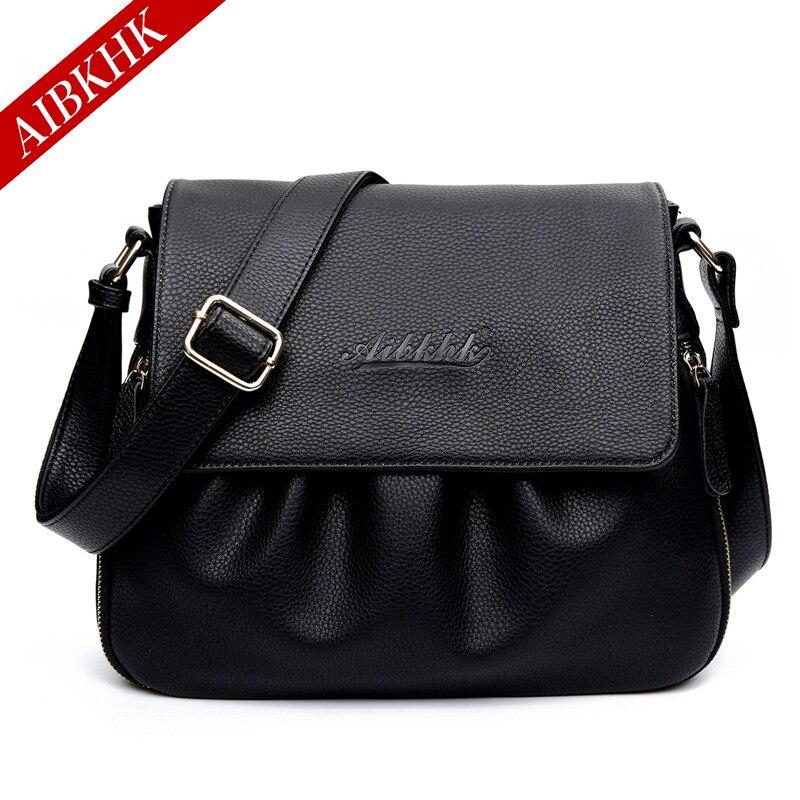AIBKHK Genuine Leather Classic font b Handbag b font for Lady Cow Split Leather Messenger Bag