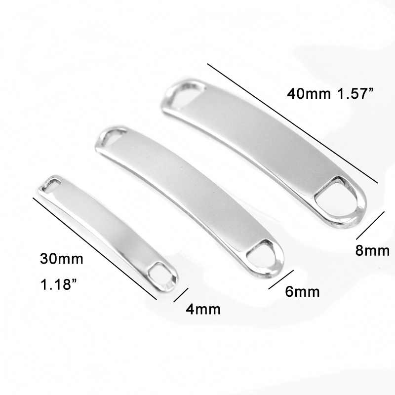 49aa0415d4 ... 100% Stainless Steel Blank Plates For Engraving Metal ID Tags Connector  For Billet For Bracelets ...