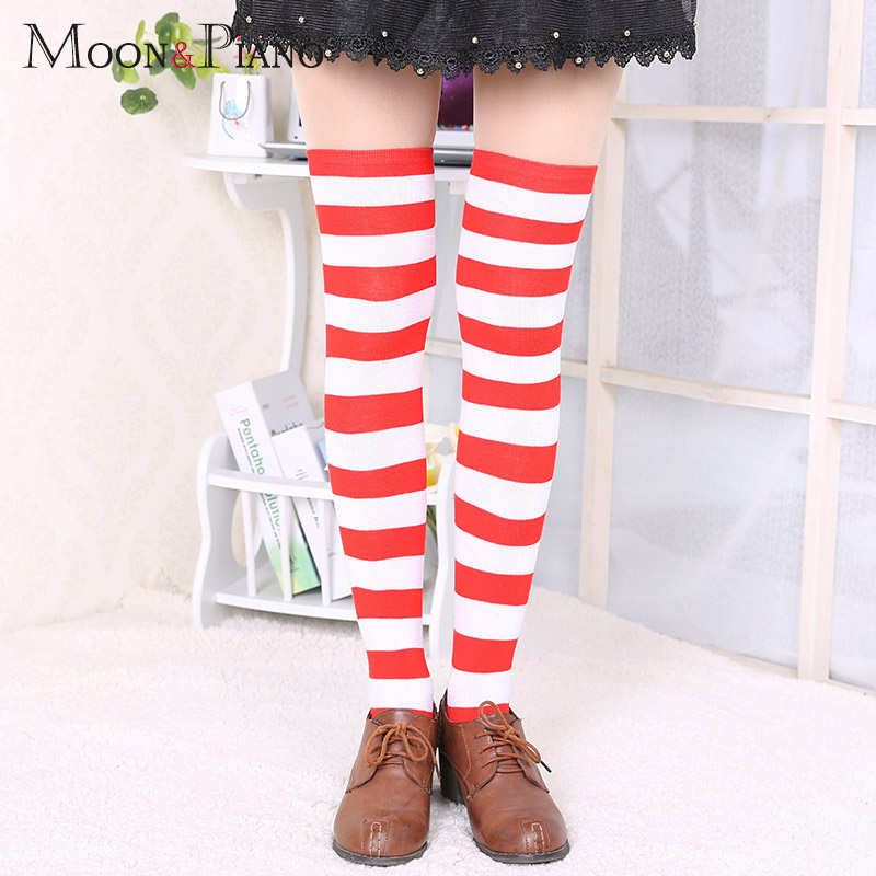 1Pair New Women's Over The Knee Large Size Stockings Sexy Thighs High Stripes Pattern 6 Color Sweet Cute Warm Winter 2019