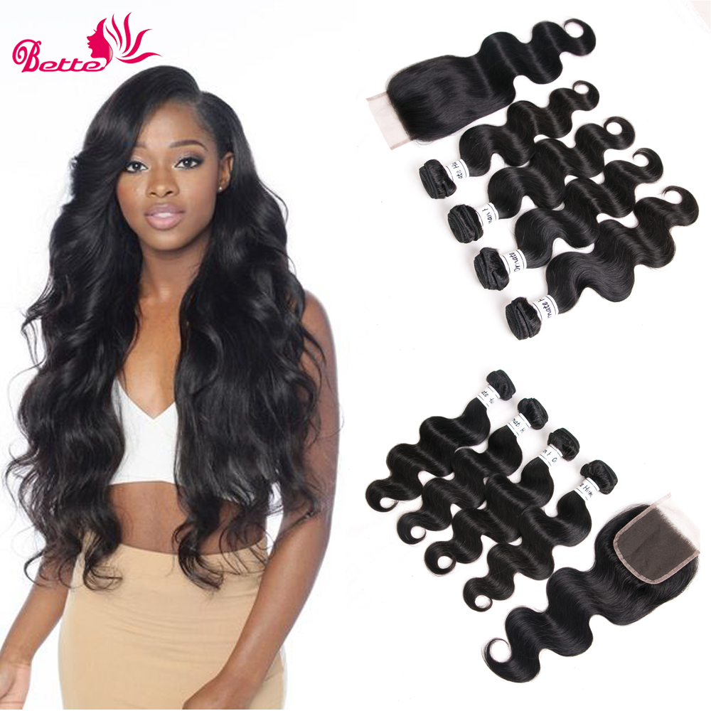 Ornate Brazilian Body Wave With Closure 4 Bundles Body Wave 10-28 Inch Hair Weave Bundles 4*4 Free Part Closure Natural Color
