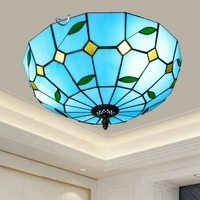 16 zoll Blau Glas Decke Licht Vintage Schlafzimmer Decke Lampe Esszimmer Licht Gang Korridor Balkon Eingang Lampe|Deckenleuchten|   -