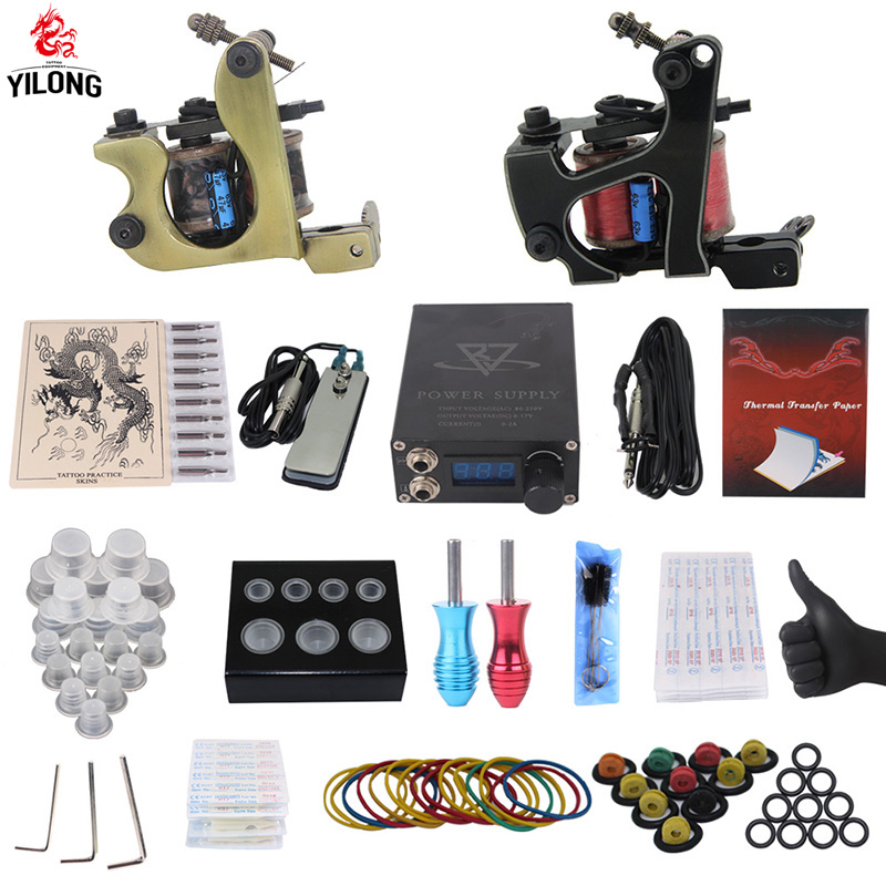 YILONG Professional Complete Tattoo Kit 2 Top Machine Gun 50 mix ink cup 10 Needle Power Supply 3000246-3 yilong  tattoo machine kit professional