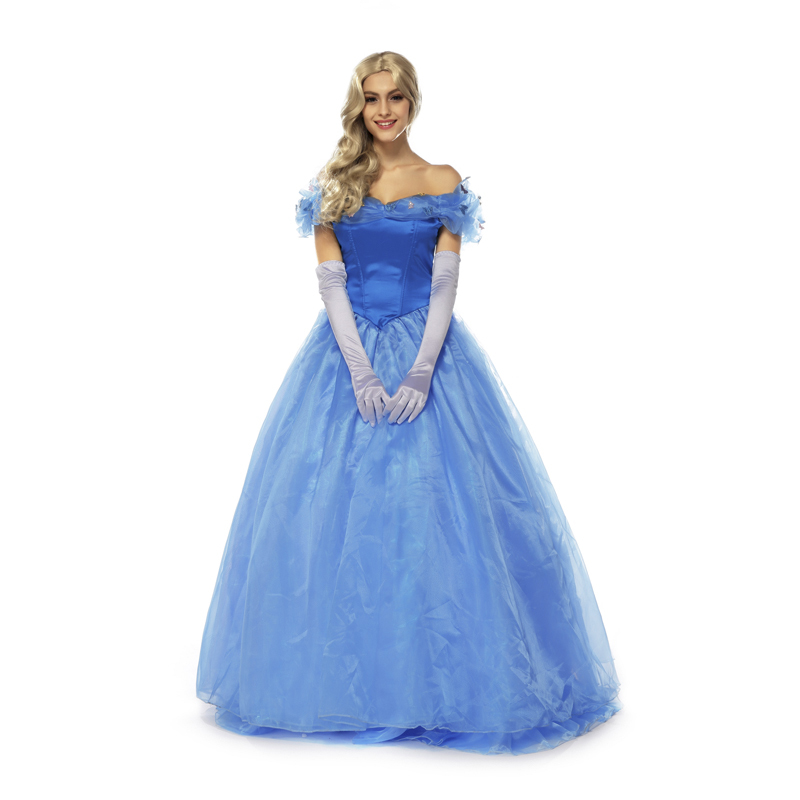 Adult Deluxe Womens Cinderella Princess Ball Gown Movie Cosplay Halloween Costume