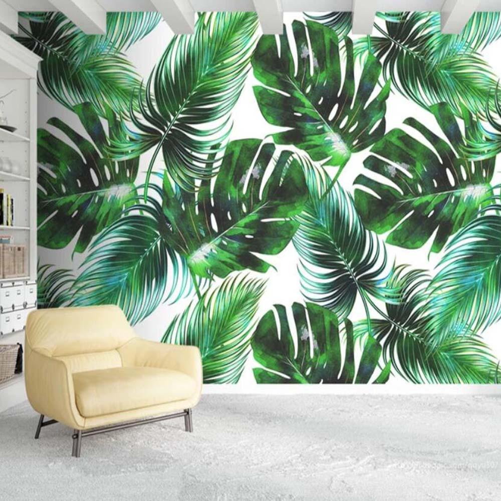 3D Tropical Green Leaves Wallpaper Wall Murals Removable Wallpaper 192
