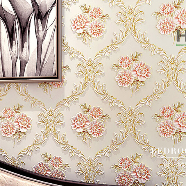3d Embossed Floral Wallpaper Geometric Textured Damask Wall Murals