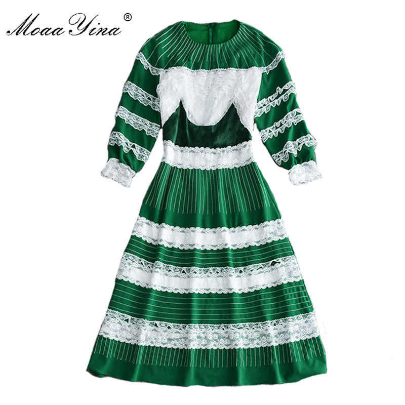 MoaaYina Fashion Designer Runway Dress Spring Women 3/4 Sleeves stripe Lace Spliced Casual Noble Elegant Romantic Vintage Dress