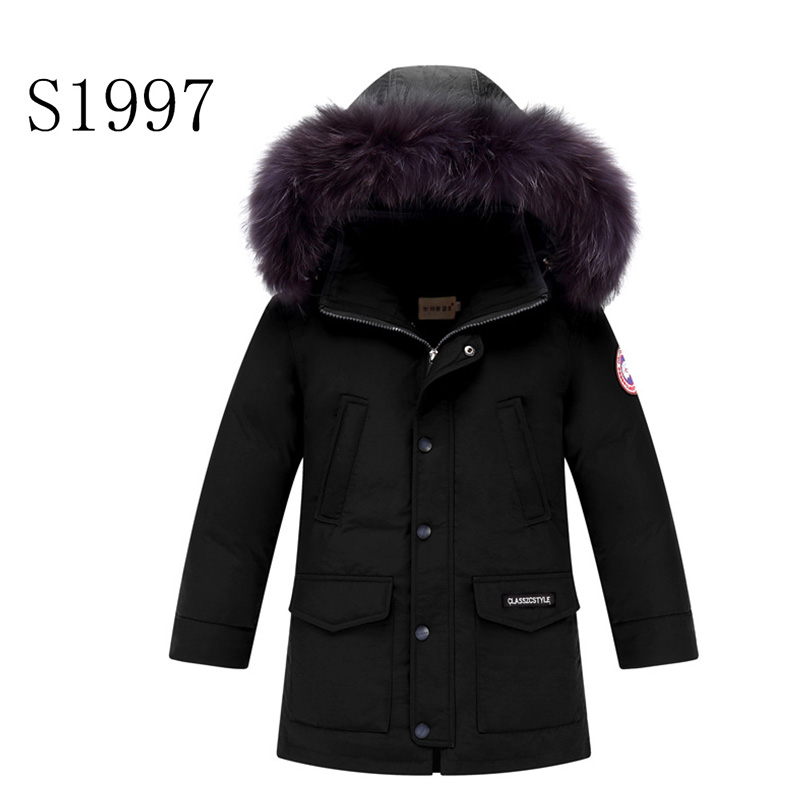 Hooded Zipper Long Down Coat  Thickening Hot Sale Winter Coat White Duck Down 7-16T Boy Winter Coat Warm  Fashion  Parkas