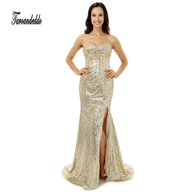 Sweetheart Neckline Front Slit Champagne Sequin Sheath Prom Dress ...