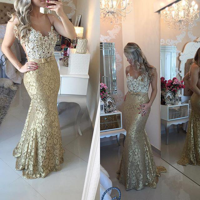2017 Mermaid Long Gold Prom Dresses Scoop Top Ivory Dresses Formal