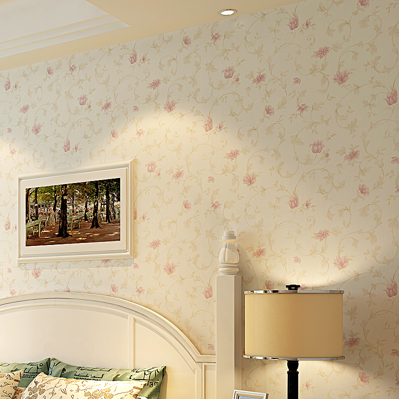 Pastoral Floral Non-woven Wallpaper Papel De Parede Living Room Bedroom TV Background Wall Decor Pink Flower Mural Wall Paper 3D american country leaf branch flower pastoral non woven wallpaper bedroom living room 3d stereoscopic background wallpaper mural