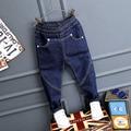 Горячие продажи джинсы baby boy зима теплая твердые denim и флис мальчиков джинсы девушки брюки повседневные брюки дети твердые брюки темно-синий
