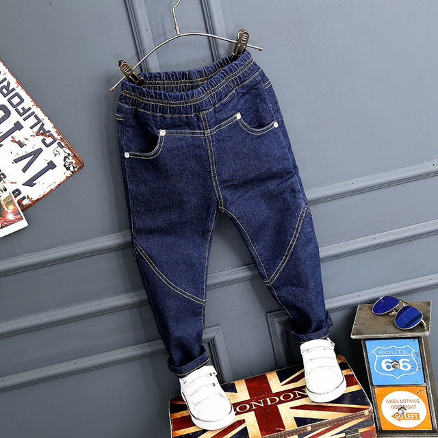 Hot sale jeans baby boy winter warm solid denim and fleece boys jeans girls pants casual pants kids solid trousers navy blue