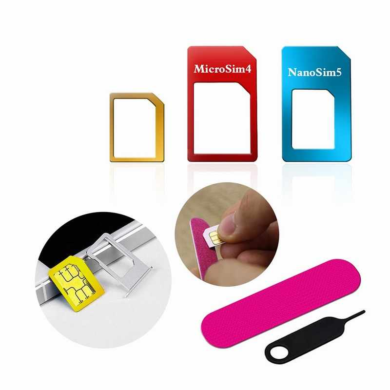 5in1 Nano Micro Standaard Sim-kaart Adapter Kit Converter Met Sander Bar tray open naald voor iphone 5 s 7 plus 6 s xiaomi redmi 3 s