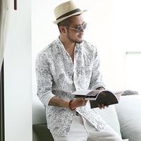 Летние Для мужчин Новый стиль белый воротник с принтом рубашка с длинными рукавами метросексуал Для мужчин белье хлопок Тонкий Европейский...
