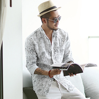 Summer Men New Style Stand Collar White Printed Long Sleeve Shirt Metrosexual Men Linen Cotton Slim European Style Shirt S850
