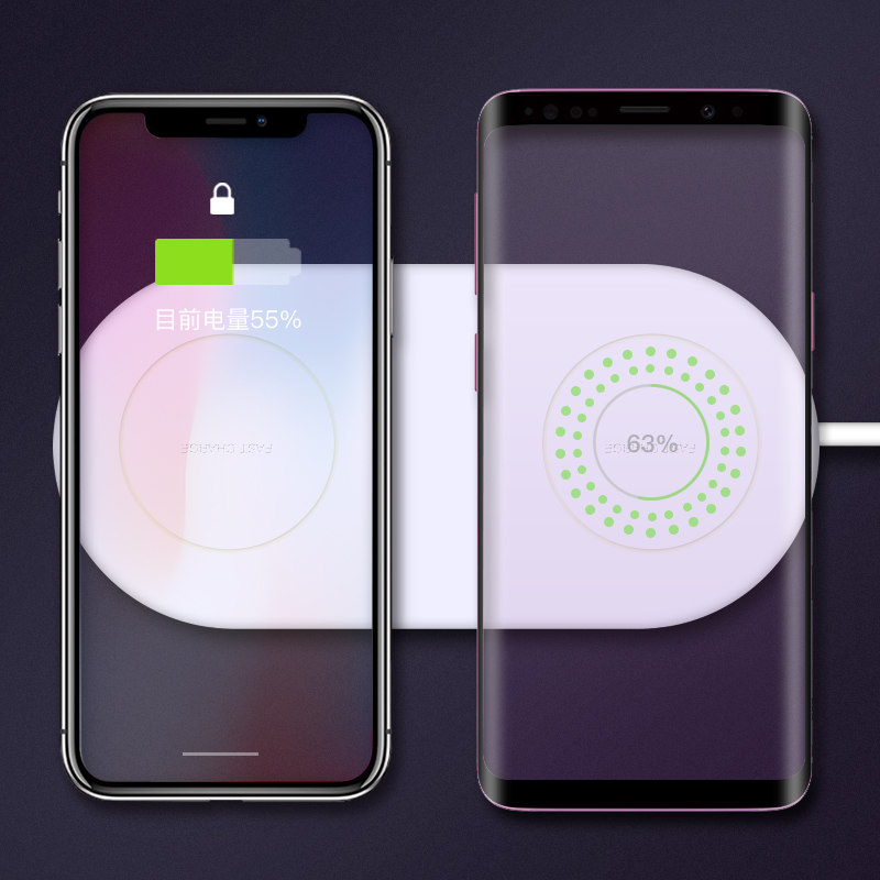 Image 3 - KISSCASE QI Wireless Charger 2 in 1 Charging for Samsung S9 S8 S10 S9Plus Note 8 S8Plus Wireless Charger Pad For iPhone X XR XS-in Mobile Phone Chargers from Cellphones & Telecommunications