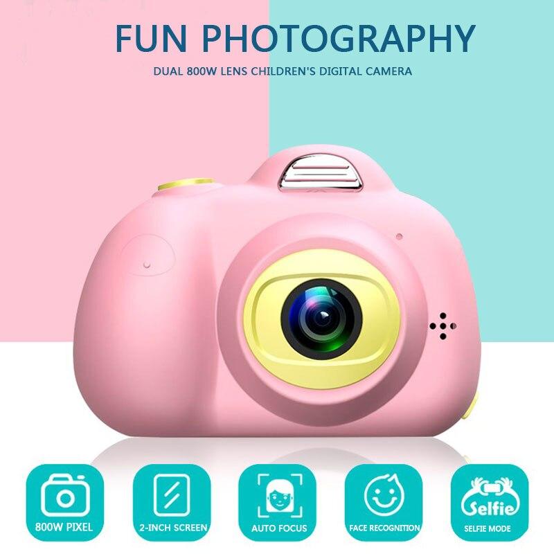 Enfant jouet caméra Support TF carte 2 pouces enfants passer appareil photo numérique enfant photographie mode petit reflex rose bleu 1080 p - 2