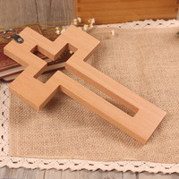wholesale beech wood hollow cross hanging cross Christian Catholic gifts crosses home living room cross pendant House Decoration