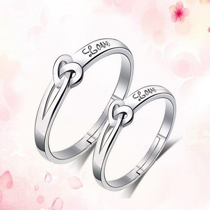 2Pcs/Set Adjustable Couple Ring Silver Color Charm Heart