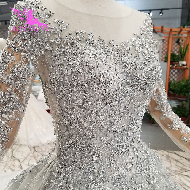 AIJINGYU 반짝 이는 가운 럭셔리 레이스 가운 여왕 로맨틱 신부 멕시코 2021 2020 볼 드레스 간단한 웨딩 드레스