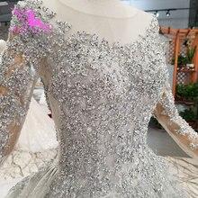Aijingyu brilhante vestido de renda luxo vestidos rainha romântico nupcial mexicano 2021 2020 vestidos bola simples vestido de casamento